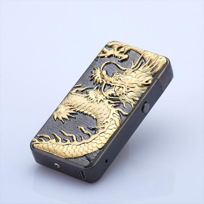HB double arc USB rechargeable lighter personality Ultrathin Relief Chinese Dragon Arc electronic cigarette lighter