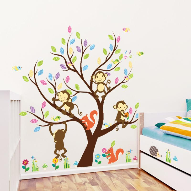 Monkey Squirrels Tree Wall Stickers Vinyl Animal Wall Art For Kids Room  Nursery Home Decoration Wall Mura Wall Stickers Kids Wall Stickers Large  From Jy9146 ...