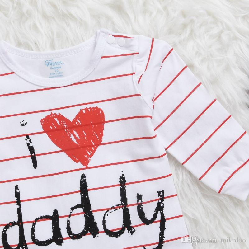 Mikrdoo Lovely Baby Rompers 2017 Newborn I Love Mummy & Daddy Child Costume Striped Stars Girl Boy Jumpsuit Clothing Set Winter Clothes Suit