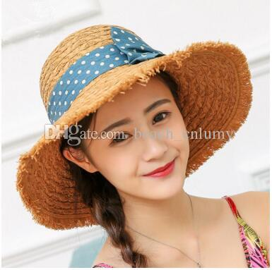 Fashion Wide Brim Summer Beach Sun Hats For Women Bowknot Straw Hats Caps  Ladies Seaside Holiday Outdoor Sunscreen Big Foldable Hat 2017 New Fedoras  Beanie ... 812afd7bee30