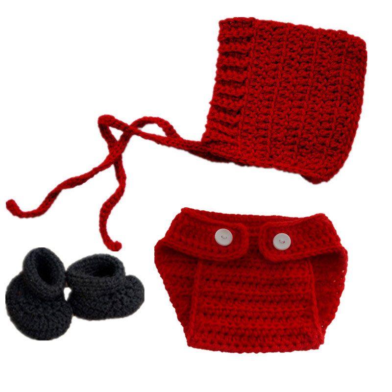Little Red Riding Hood Costume,Handmade Crochet Baby Boy Girl Bonnet Diaper Cover Booties Set,Infant Halloween Costume,Newborn Photo Props