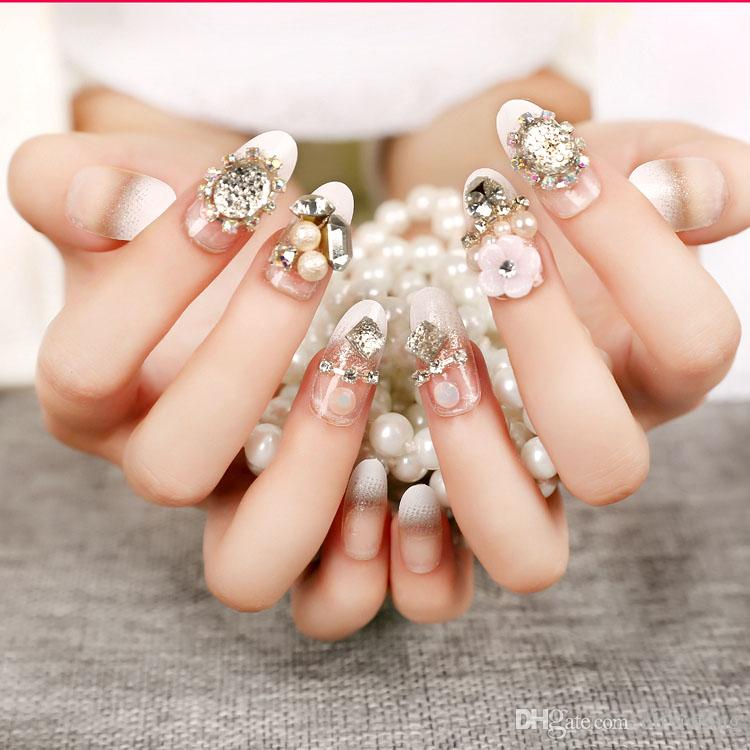 Origianl Fake Nails Multi Color Bride Nail Art 3D Diamond Shining Decoration Nail finger nail artificial nails