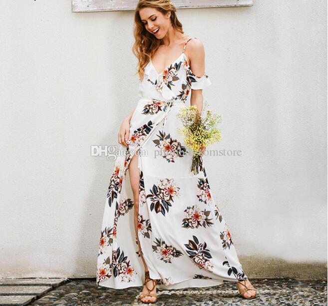 daf3707f2 Compre Estampado Floral Volantes Gasa Largo Bohemio Vestido De Las Mujeres  V Cuello Dividir Playa Vestido De Verano Sexy Sin Espalda Maxi Vestidos De  Fiesta ...