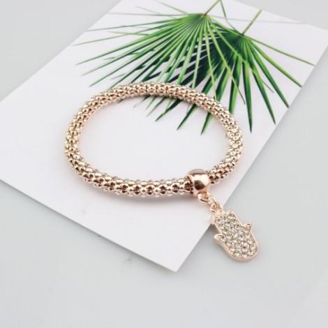 Bracelets de chaîne de maïs / dames / filles or / argent / or rose Hamsa main bijoux idée cadeau bracelets de maïs soufflé stretch