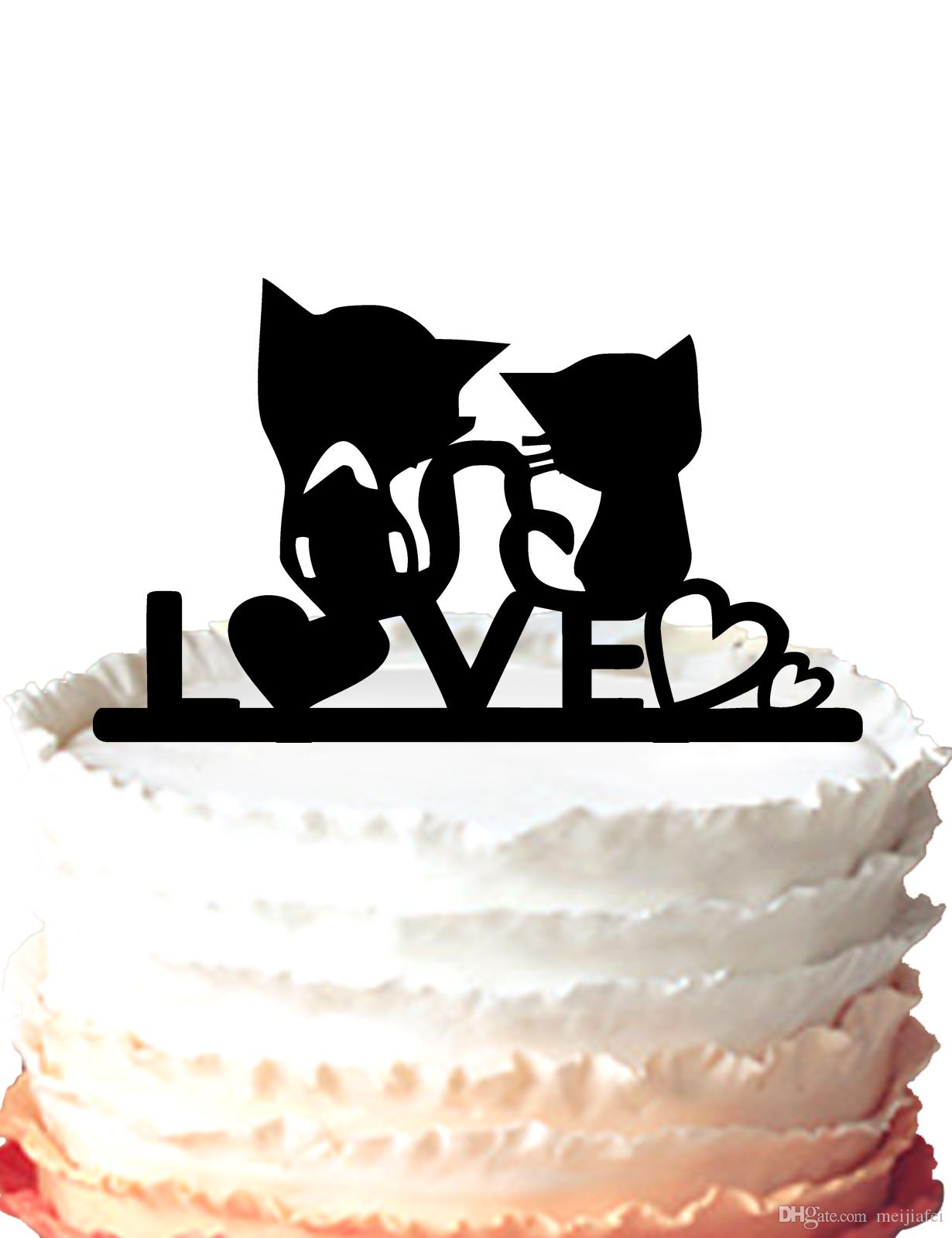 2018 Wedding Cake Topper, Sweet Love Heart With Two Cut Cats ...