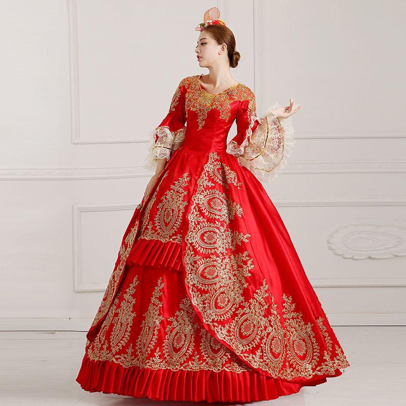Custom 2016 Hand made Red Victorian costume 18th Century Madame de Pompadour Costumes