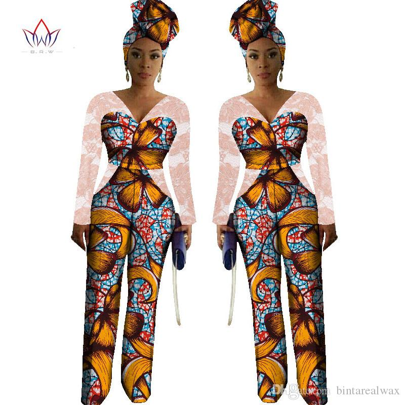 9fb1688be8dbe 2019 2017 Womens African Jumpsuits Dashiki African Print Long Pants With  Free Head ScarfAfrica Style Plus Size Lace Clothing WY1867 From  Bintarealwax