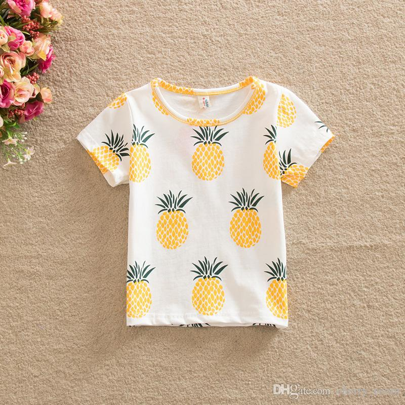 554014e5f63 Summer Girls Tops T-shirts Tee Pineapple Printed Shirts Pure Cotton Casual Short  Sleeve New 2017 Kids T-shirt Girl Boys Shirts A6180 Baby Girls Tee Shirt ...