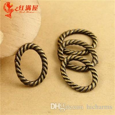 16*12MM Antique Bronze alloy oval twisted ring connector charms for bracelet, vintage metal pendants for necklace, tibetan jewelry making