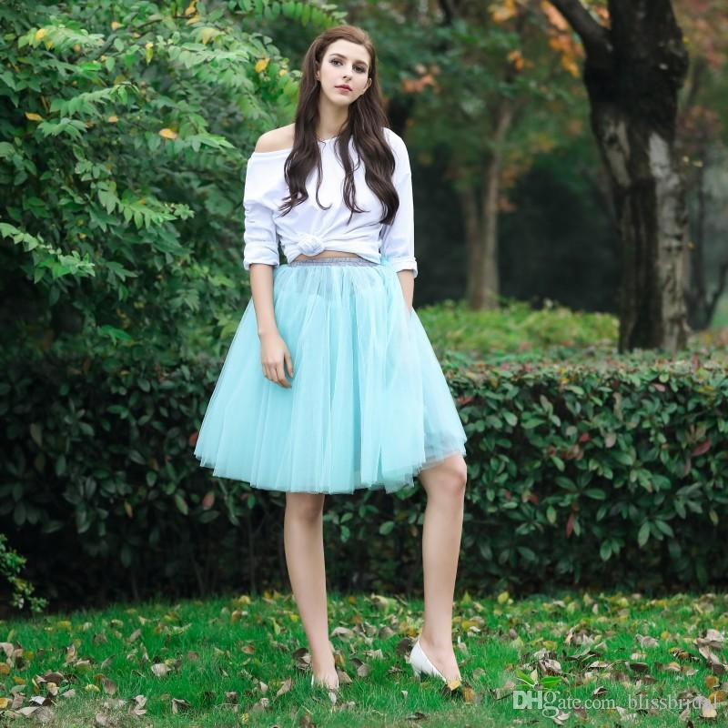 Jupes faites sur mesure Jupes féminines Tulle Longueur au genou Robes Solide Délicate Jupe Tutu plissée 100% Real Picture