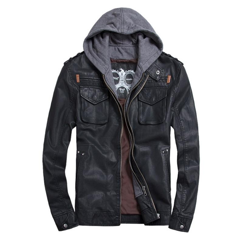 Thooo Brand Mens Pu Leather Jackets Hoodie Jacket For Mens Good ...