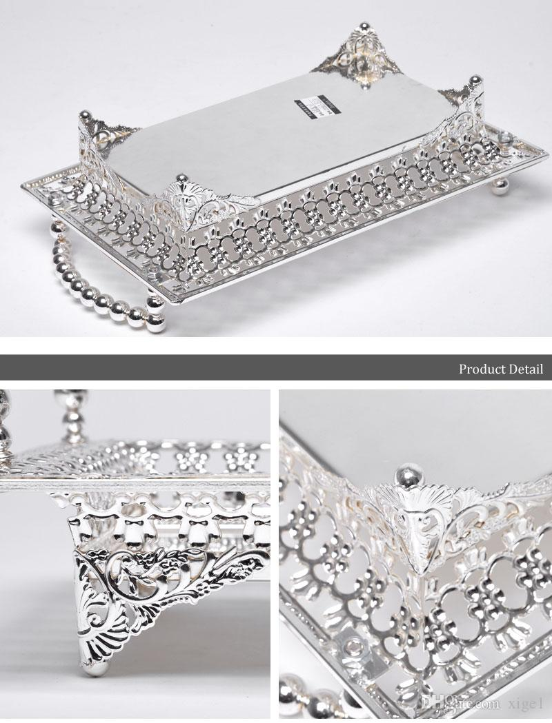 Gold / Silver Plated торт Лотки цинковый сплав Обслуживание лоток Металлическая пластина Для дома Wedding Party Event Supplies 30X18X9cm