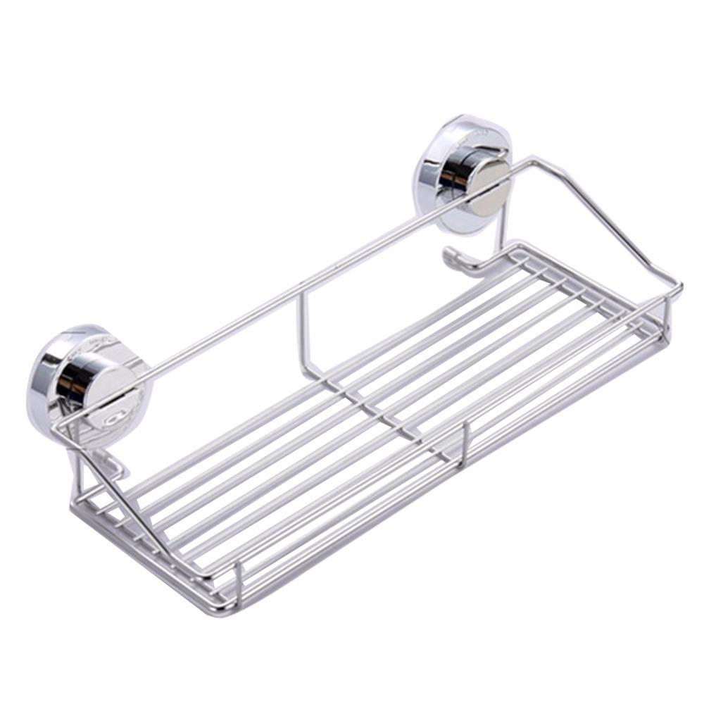 Stainless Steel Shelving Suction Shower Basket Dual Sucker Bathroom ...