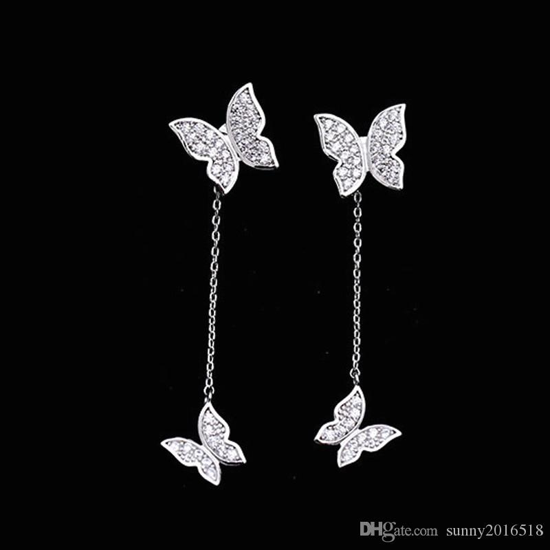 fc73dadfbab6b Cute Butterfly Earrings Crystal Diamonds Prong Setting Front and Back Post  Stud Earrings Long Tassel 925 Sterling Silver Fashion Jewelry