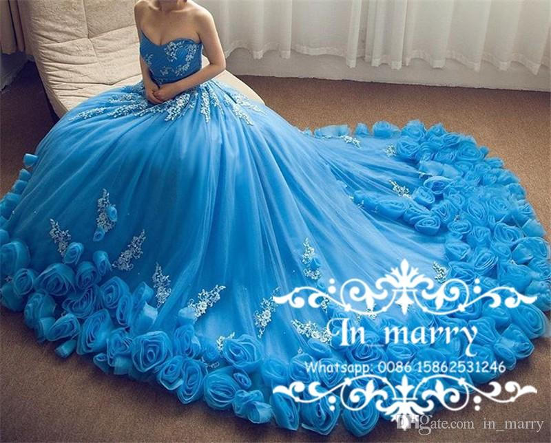 Royal Blue Cinderella Prom Dresses With 3d Flowers 2017 Ball Gown ...