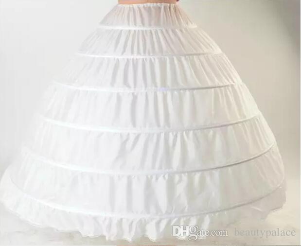 Robe de bal Petticoat Layes blanc Crinoline Jupon de mariée Jupon Robe de mariée Slip 6 Hoop jupe crinoline Pour Quinceanera