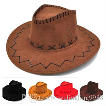 9cd102feff2 Cowboy Hat New Suede Look Wild West Fancy Dress Mens Ladys Cowgirl Unisex  Adult Women Men Children Visor Knight Wide Brim Hats MOQ Eric Javits Flat  Brim ...