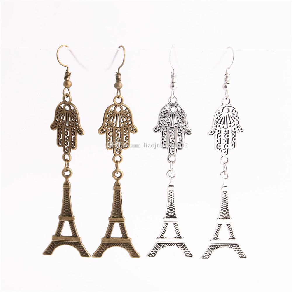 Metal Alloy Zinc Hamsa Hand Connector Eiffel Tower Pendant Charm Drop Earing Diy Jewelry Making C0708