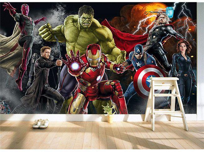 carta da parati Avengers Foto sfondo personalizzato 3D pareti uomo Hulk Ferro Capitan America parete Ragazzi soggiorno camera da letto ristorante di design