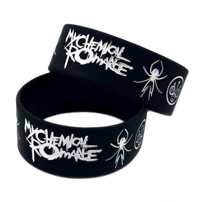Punk Style Band My Chemical Romance Silicone Rubber Bracelet Black 1 Inch Wide Adult Size