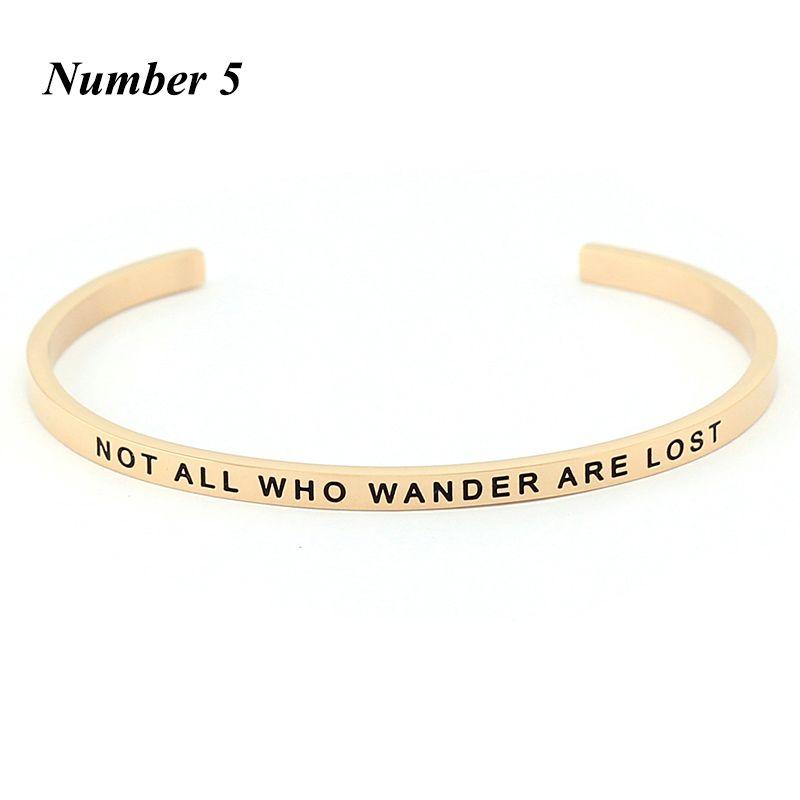 Nouvelle arrivee! Or rose en acier inoxydable gravé citation inspirante positive à la main estampillé manchette Mantra Bracelet Bracelet pour les femmes
