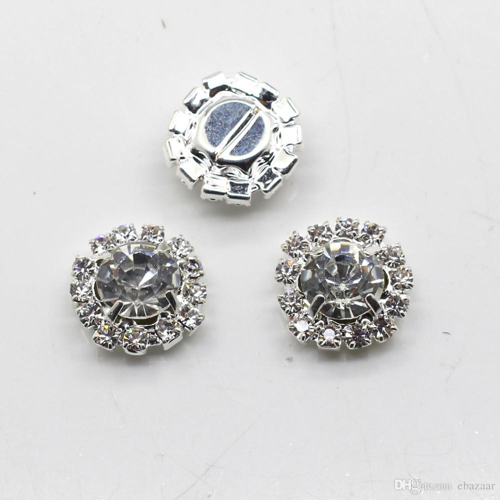 100 unids 15 mm ronda Rhinestone adornos botones espalda plana transparente Crystal Cluster hebilla decoración de la boda