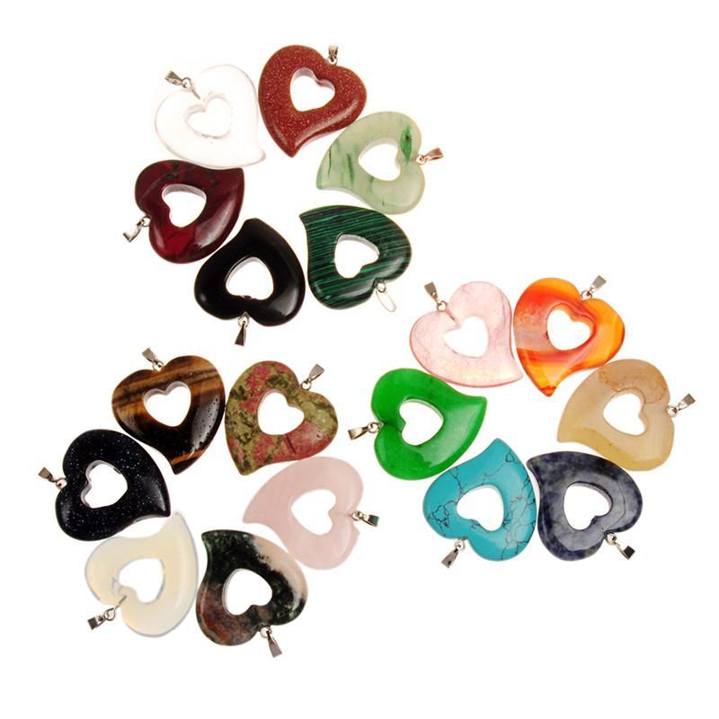 Vintage Reiki Mix Natural Quarzo Cristallo Scava Fuori Doppio Cuore Amore Passione Fascino Perline Ciondolo Natale Festa della mamma Regalo di compleanno
