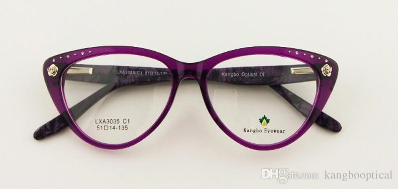 wholesale Spectacle Cat Eye glasses women Styling Eyeglasses Frame Brand Birthday Gift spring diamond flowers 2017