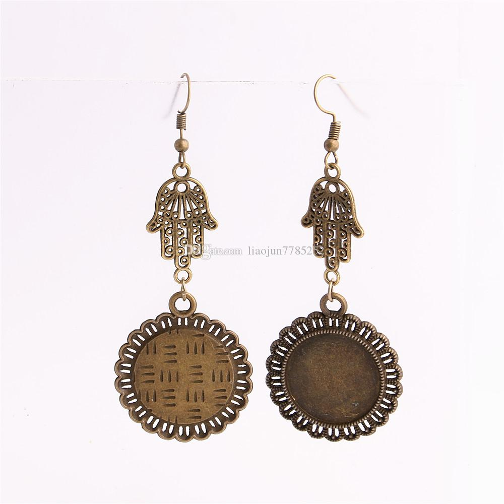 SWEET BELL Metal Alloy Zinc Hamsa Hand Charm Fit round 20mm Cabochon Base Pendant Drop Earing Jewelry Making C0857
