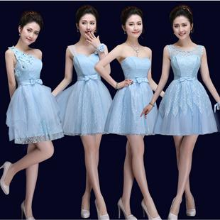 f28a354e8310e special occasion strapless sweetheart tulle light sky blue short bridesmaid  dress formal mini dresses under $50 for girls B3383