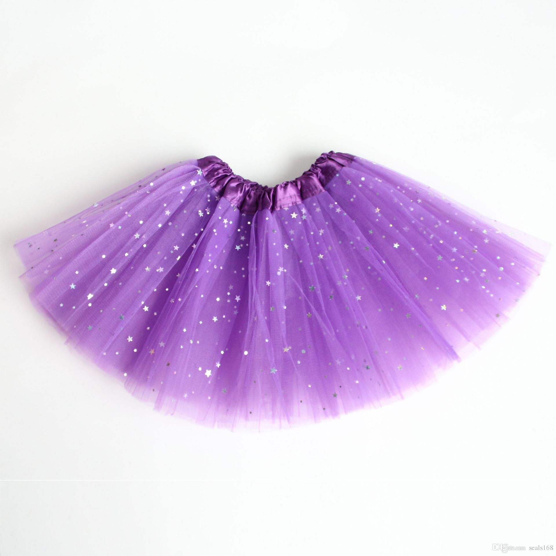 Children Girls Sparkle Glitter Tutu Dress Baby Kids Sequins Stars Lace Dance Ballet Tulle Tutu Skirt Princess Dress Pettiskirts HH-A27