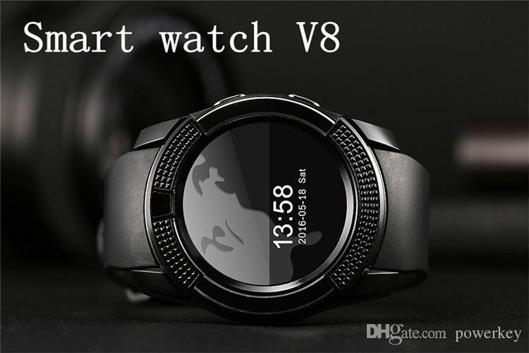Новое прибытие 8 цветов V8 смарт-часы телефон Bluetooth 3.0 IPS HD полный круг дисплей MTK6261D Smartwatch