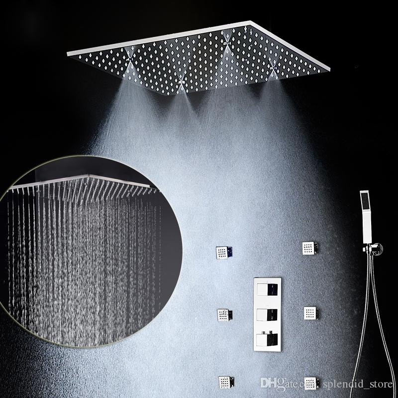 2017 Modern Massage Shower Set Ceiling Mounted Rain and Spa Mist Shower Head 20 inch / thermostatic shower valve