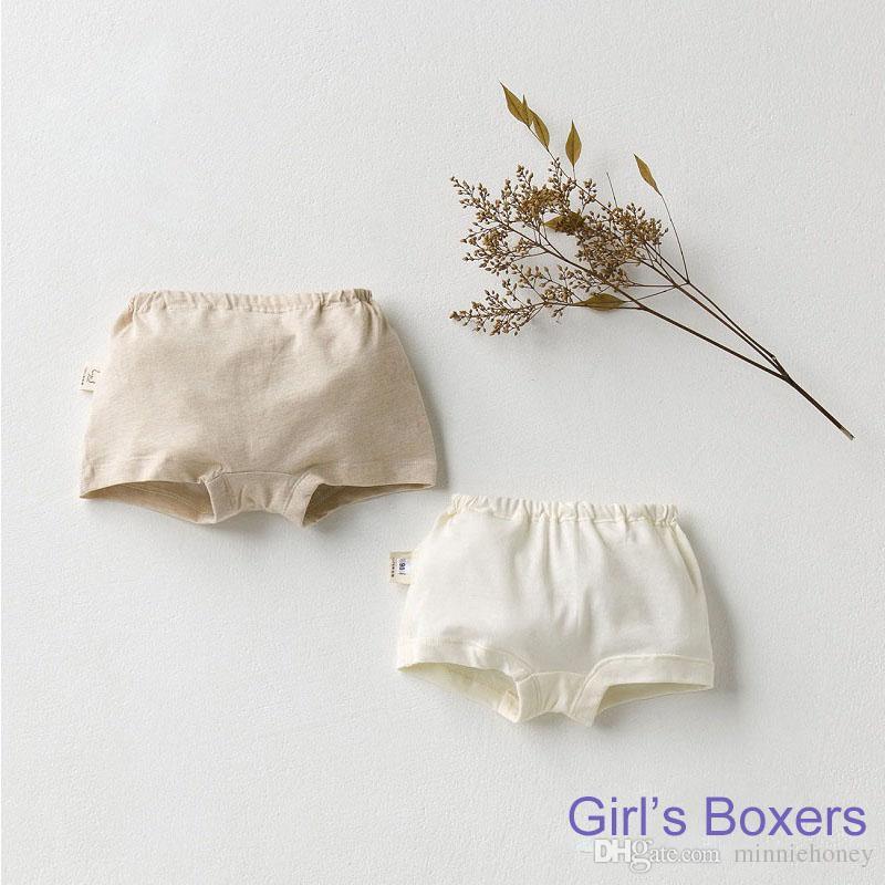 Ropa interior sólida de los boxeadores del algodón orgánico de los niños Ropa interior transpirable de la muchacha del muchacho del bebé Pantalones cortos del cabrito Ropa interior del algodón del color