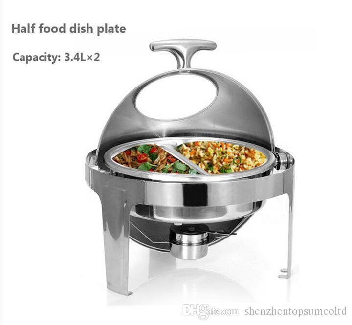 Gratis verzending Hot Sale Roestvrijstalen Flip Round Buffet Chafing Dish met venster