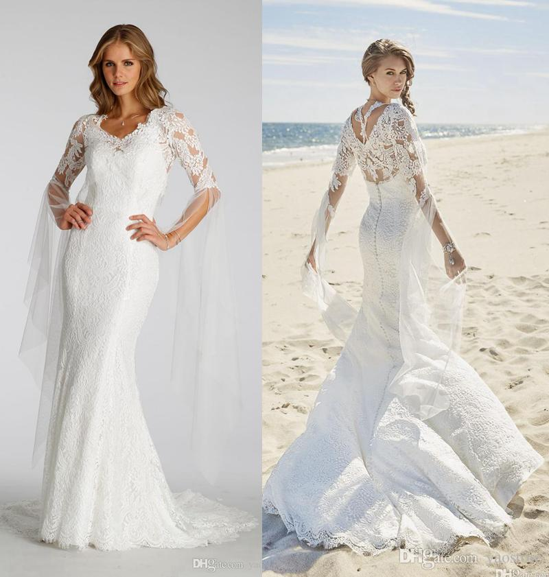 Vintage Ivory Lace Mermaid Wedding Dresses Straps Crossing Back Gowns Sheer Bell Sleeves Nets Bridal Dress Online Plus