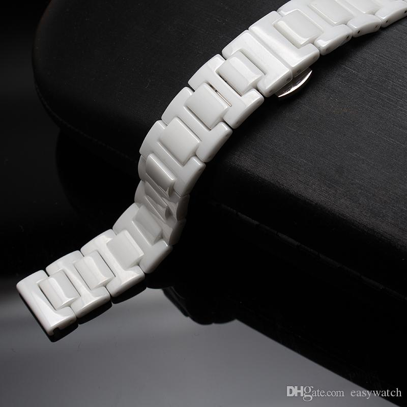 White Watchband pure Ceramic Watch Strap Bracelet NEAVER FADE Watches ACCESSORY fIT men women diamond dress watches 14 16 18 20 22mm fashion
