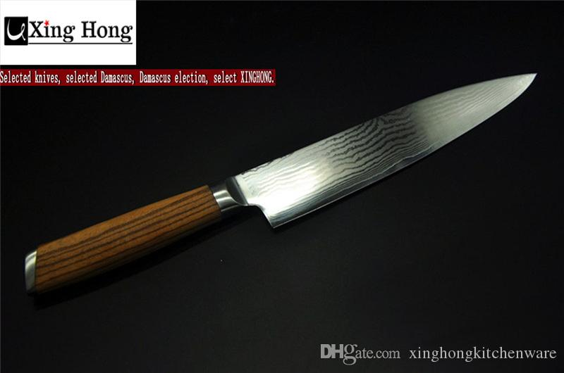 new knife xinghong 8 inch japanese chef knife japanese vg10 damascus steel kitchen knives zebrawood hard wood handle gift for family best rated kitchen - Japanese Chef Knife