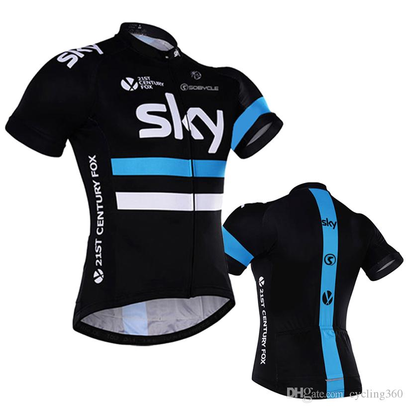 83e4c8b4bc0 2018 Sky Team Cycling Jersey Quick Dry 100% Polyester Shorts Sleeve Pro Cycling  Shirts Mens Summer Bike Maillot Wear Vintage Cycling Jerseys Best Cycling  ...