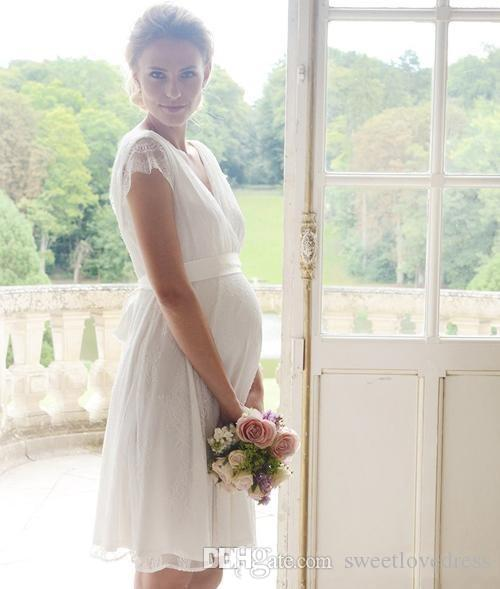 Pregnant Short Wedding Dresses Lace Short Sleeves Garden Maternity ...