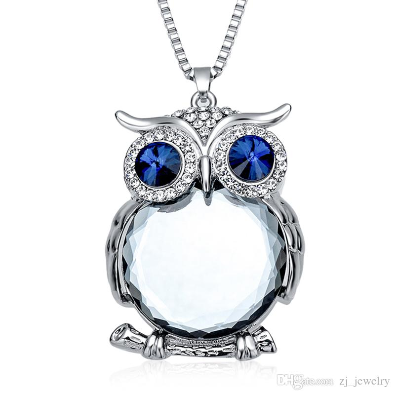 Fashion Womens Necklaces Jewelry Trendy Charms Crystal Owl Necklace Gold Long Chain Animal Necklaces&Pendants 2018 Hot Sale