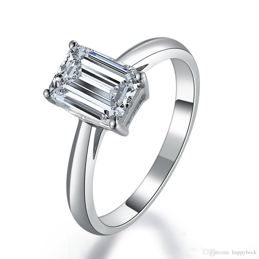 Lucky Style 1CT Emerald Cut Synthetic Diamond Engagement Ring Solid Sterling Silver 18K White Gold Cover Fine Wedding Jewelry