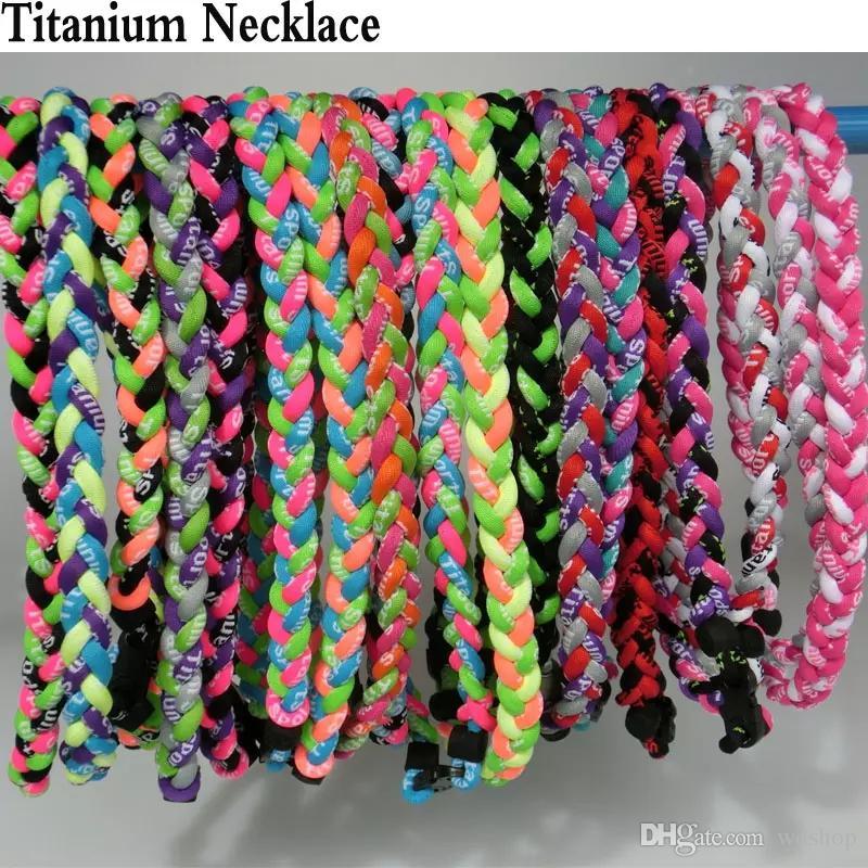 Novos titanium sports colares 3 cordas trançado esportes saúde germânio titanium energia torções gargantilhas para o futebol de beisebol das mulheres dos homens