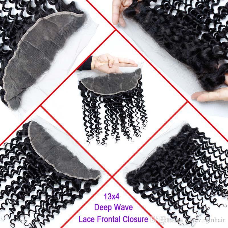 Frontal de encaje pre desplumado con paquetes de onda profunda de Malasia Paquetes de cabello de Virgen de Malasia con encaje Frontal Sin procesar Tejido de cabello humano