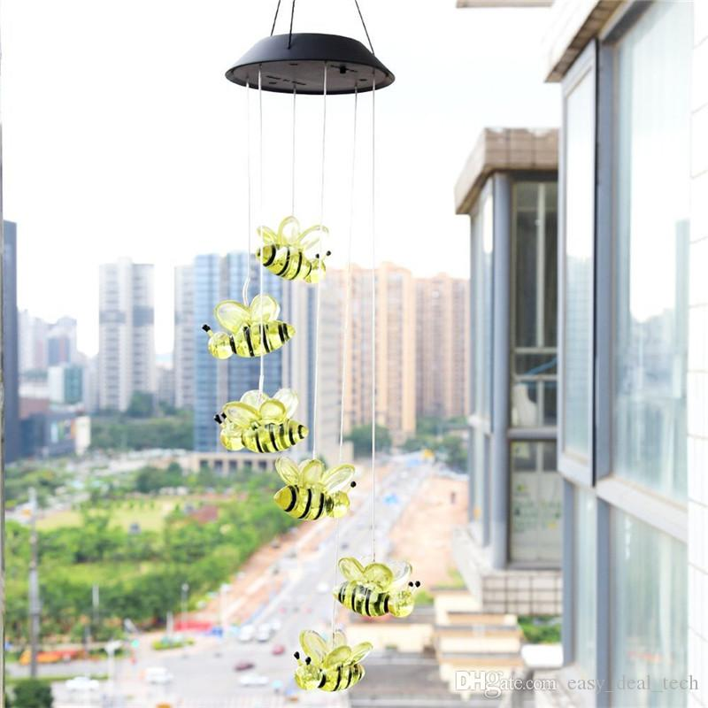 2019 Cute Bee Solar Power LED Wind Chime Lamp Light Color Changing