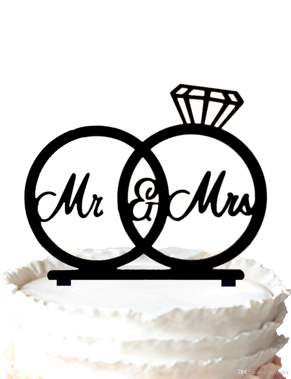 2020 Mr Amp Mrs Silhouette Wedding Rings Cake Topper