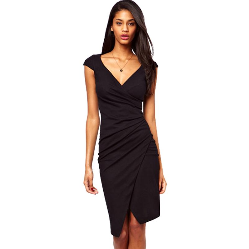 1e8b4b3b6ae1 Elegant Charming Knee Length Cap Sleeve Women's Sexy V Neck Bodycon Club  Wear Wrap Pencil Dress Casual Sheath Black Dresses G728