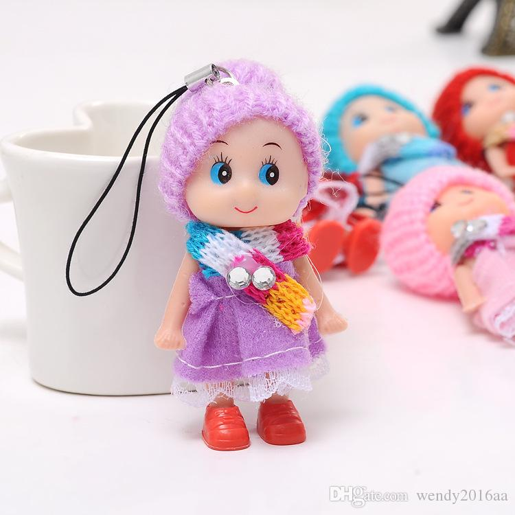 Newest Korea Kids Baby Diomand Scarf Doll toy keychains plush ball doll For Girls Key Ring Greative bag chain