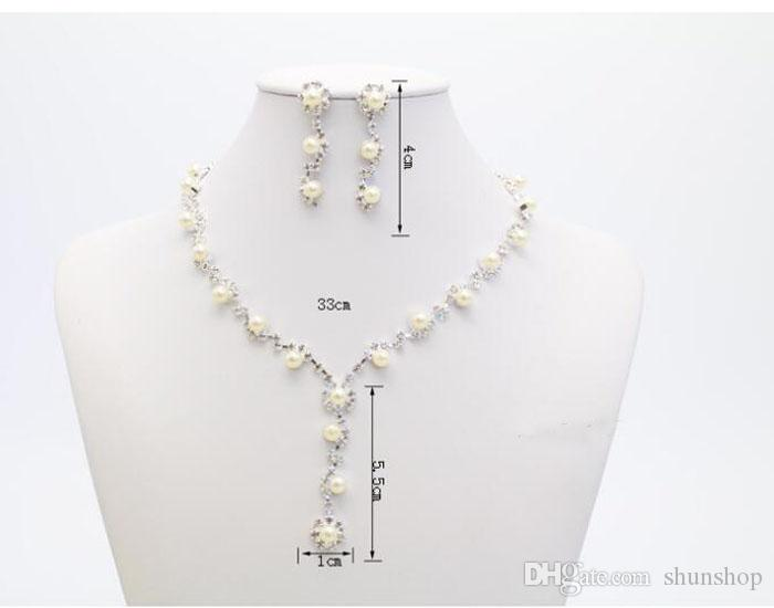 Romantic Pearl Designer With Crystal Cheap Two Pieces Earrings Necklace Rhinestone Wedding Bridal Sets Jewelry Set