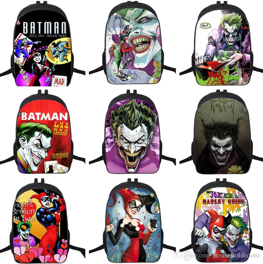 e3c767e685 Fashion 3D Batman Joker Harley Quinn Unisex Backpacks Children School Bags  Satchel Bookbags Rucksacks Knapsacks 16inch Backpack On Wheels Backpack  Travel ...